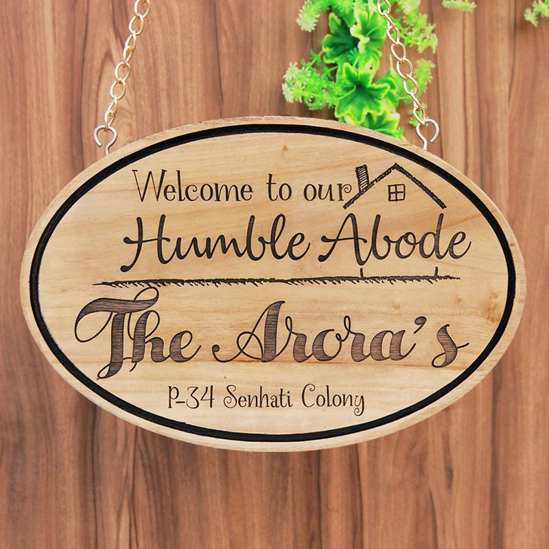 Welcome To Our Humble Abode Sign - Hanging Signs - Wooden Signs for Home - House Name Plates - House Address Signs - Personalised Signs - Wooden Signs - Woodgeek Store