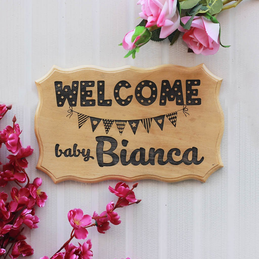 Welcome Baby Wood Sign - Personalized New Baby Sign - Custom wood Wall Signs for Baby Room - Gifts for New Moms - Baby Shower Gifts - Personalized Gifts for Pregnant Parents by Woodgeek Store