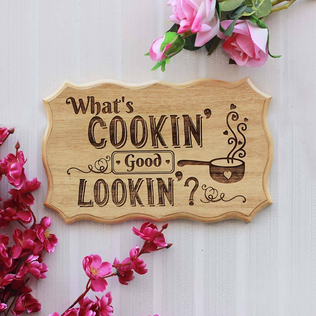 What's Cooking Goodlooking Wooden Kitchen Sign - Kitchen Wall Decor by Woodgeek Store