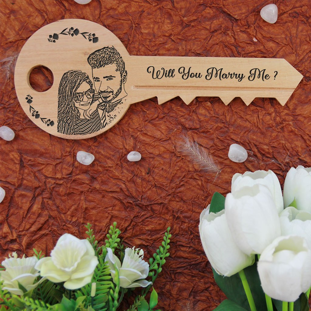 Will You Marry Me Wooden Proposal Sign. Key-Shaped Wooden Signs Makes A Special Proposal Gift & Proposal Idea. A Wood Engraved Photo On Personalised Wooden Plaque.