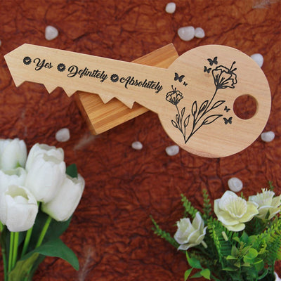 Will You Marry Me Wooden Proposal Sign With Answer Choices Engraved On The Back Of Key-Shaped Wooden Sign. Key-Shaped Wooden Signs Makes A Special Proposal Gift & Proposal Idea. A Wood Engraved Photo On Personalised Wooden Plaque.