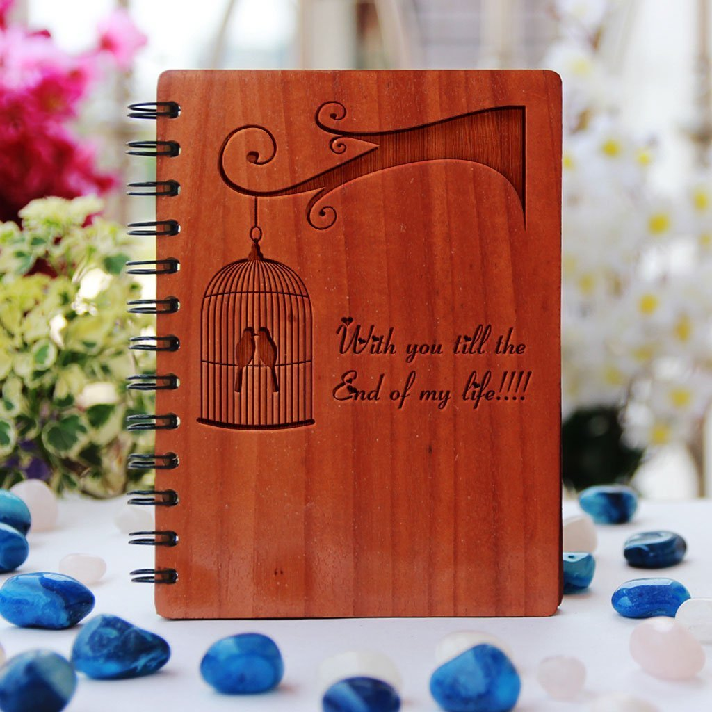 With you till the end of my life - Personalized Wooden Notebook