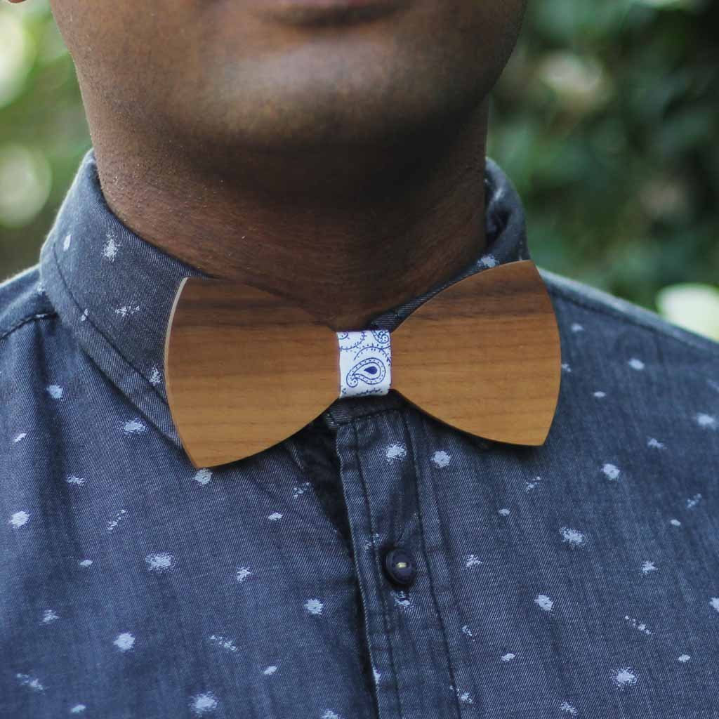 Bow Ties - The  Deshpande - Brown Wooden Bow Tie - Blue paisley