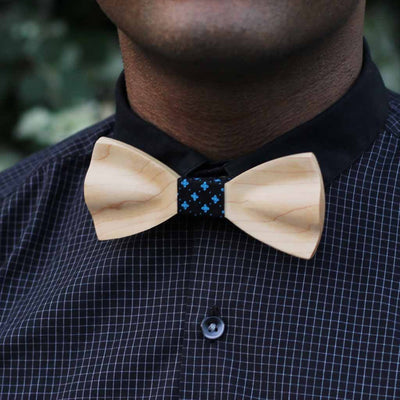 Bow Ties - The Shah - White Wooden Bow Tie - Black Star