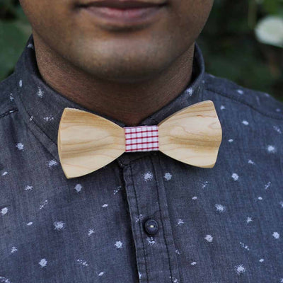 Bow Ties - The Shah - White Wooden Bow Tie - Red plaid