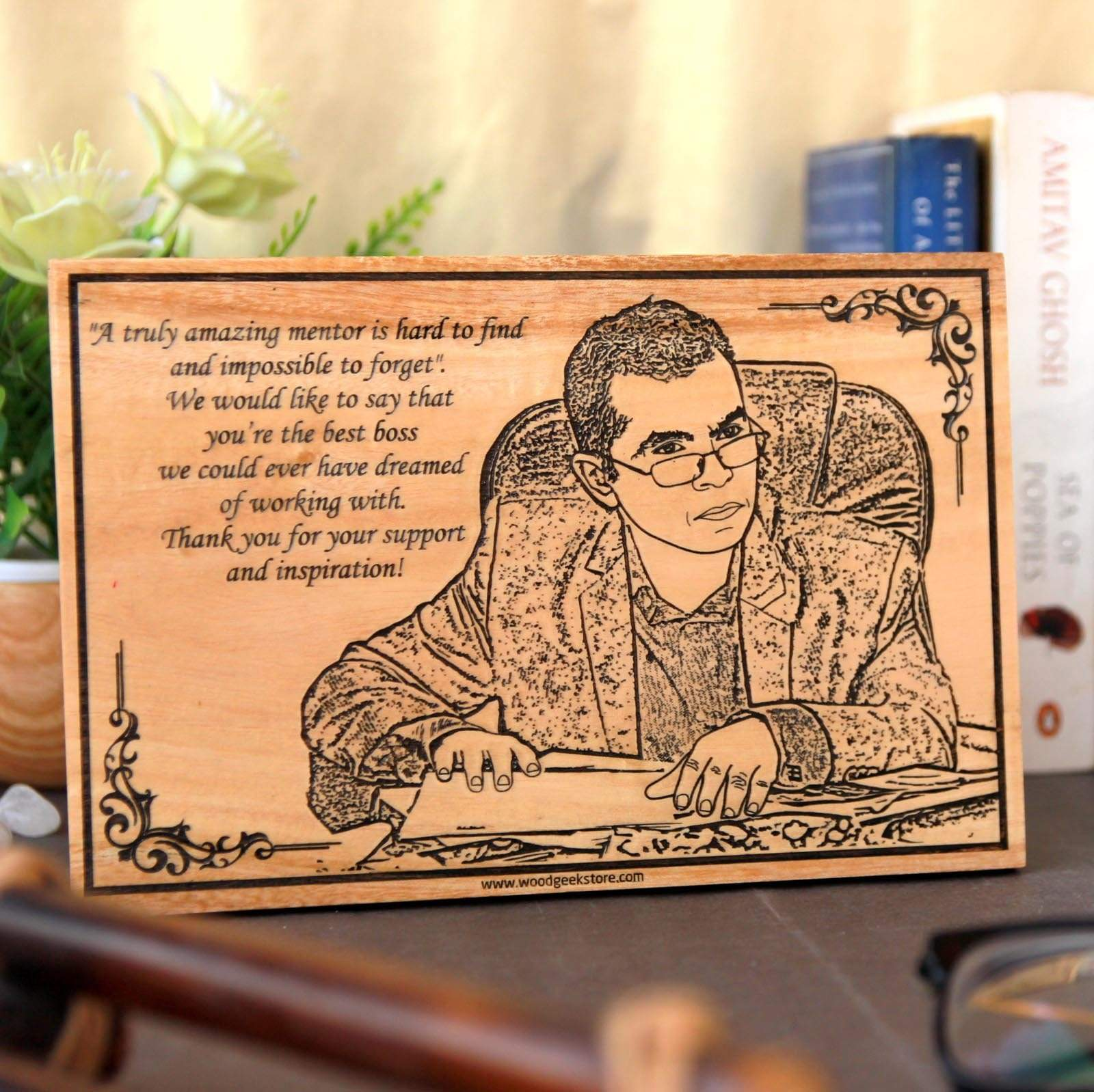 "Wood Poster Engraved With Photo & Quote "" A truly amazing mentor is hard to find and impossible to forget""  We would like to say that you're the best boss we could ever have dreamed of working with.Thank you for your support and inspiration. This photo on wood is one of the best mentor gifts and gifts for boss."