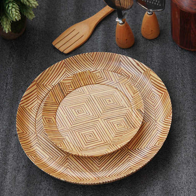 Segmented wooden dinner plate and side plate made of patterned plywood by woodgeekstore