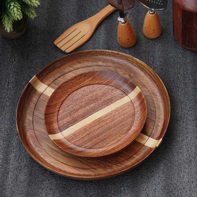 Dark wooden dinner plate and side plate made of black sirish wood by woodgeekstore