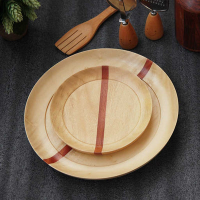 White wooden dinner plate and side plate made of birchwood by woodgeekstore