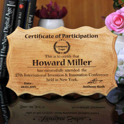 Wooden Award Certificate Of Participation. This Personalized Wooden Plaque Makes One Of The Best Corporate Gifts. If You Are Looking For Seminar Gifts To Present To Your Clients, Buy Engraved Gifts Online From The Woodgeek Store
