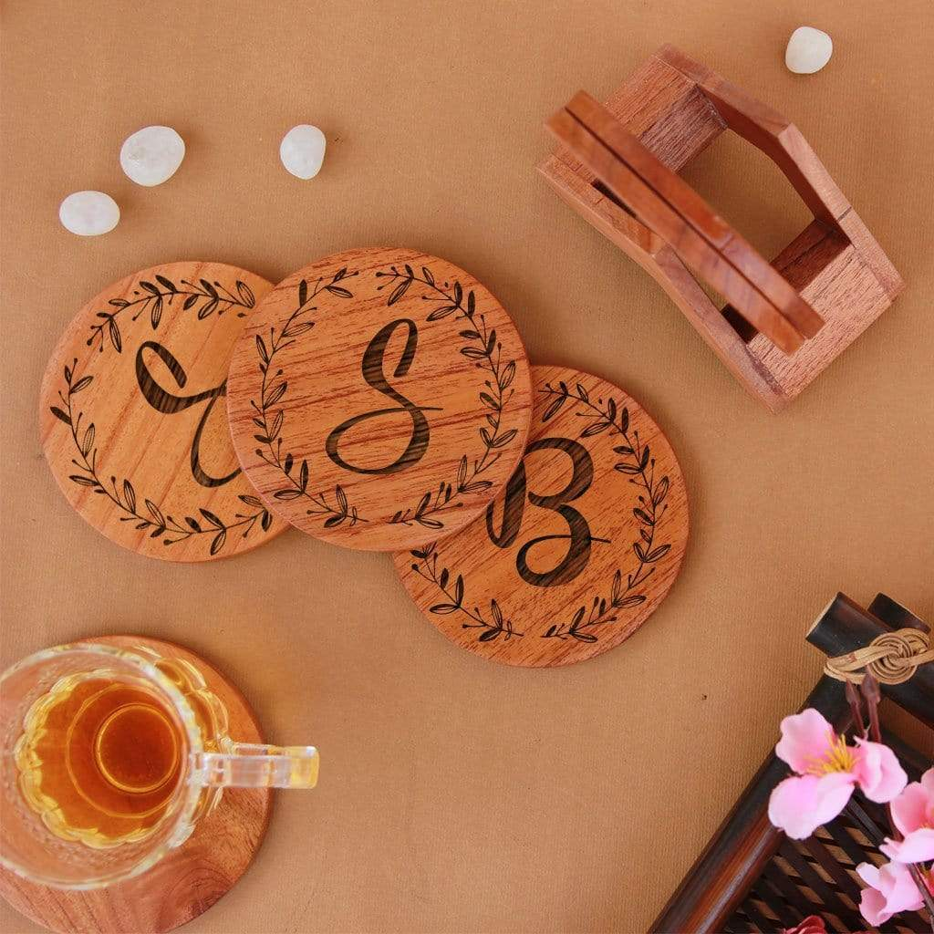 Initial Coasters. Monogram Coasters. Alphabet Coasters. Wooden Coasters With Initials. Looking for Diwali gifts for family, gifts for mom, home decor gifts or housewarming gifts? These personalised coasters make great personalized gifts. Buy coasters online at Woodgeek Store