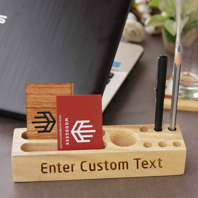 Wooden Table Organizer With Pen Stand & Visiting Card Holder. Pen Holder For Desk & Desk Organizer. Wooden Pen Organizer For Desk Makes Great Office Desk Accessories. These Office Accessories Are Great Gifts For Employees and Colleagues.