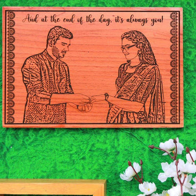 And At The End Of The Day, It's Always You Photo Engraved Wooden Poster. This Wood Engraved Photo With A Romantic Quote Engraved Is One Of The Best Engagement Gifts. This Photo On Wood Will Make Great Romantic Gifts.