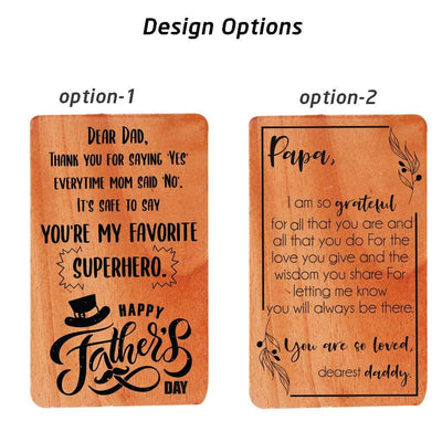 Greeting Card For Father & Fathers Day Cards. This Set Of Personalized Wooden Cards makes perfect fathers day greeting cards, birthday card for father or a greeting card for father for any occasion.