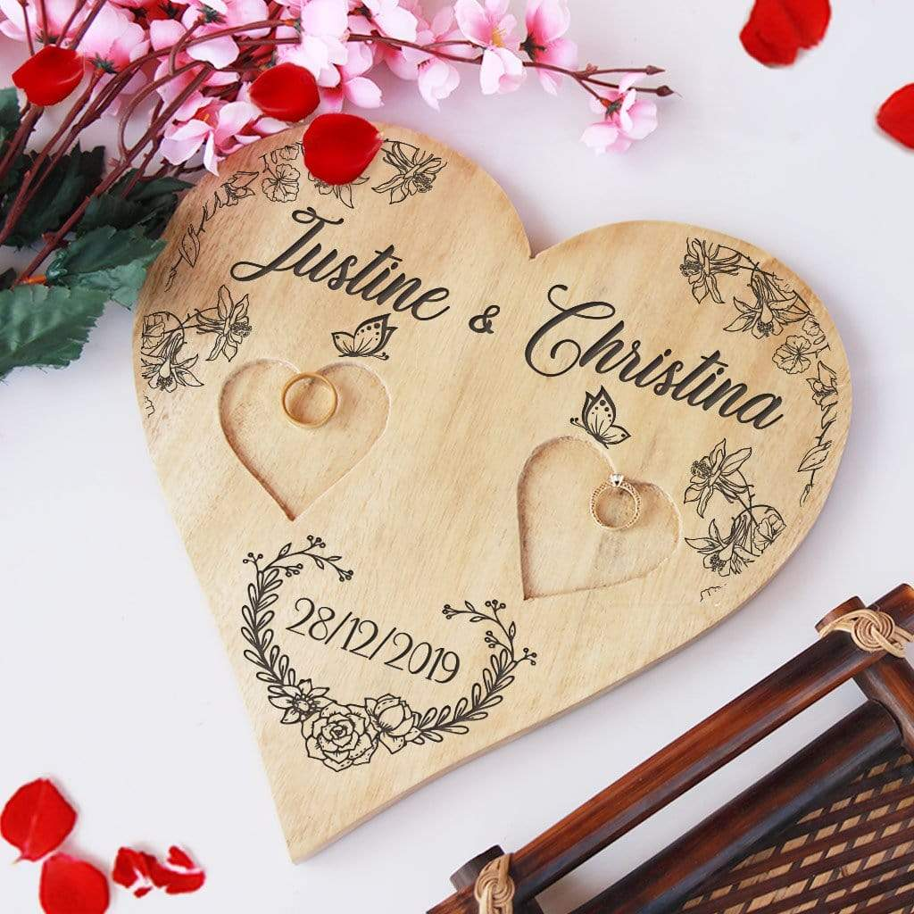 Personalised Ring Holder. Wooden Heart Shaped Ring Holder Engraved With Names & Date. Wedding Ring Holder & Engagement Ring Platter. This Best Engagement Ring Tray Is One Of the Best Wedding Gifts Or Engagement Gifts