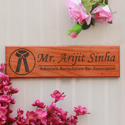 Personalized Wooden Nameplates for Lawyers - Gifts for Lawyers - Desk and Door Name Signs for Office by Woodgeek Store