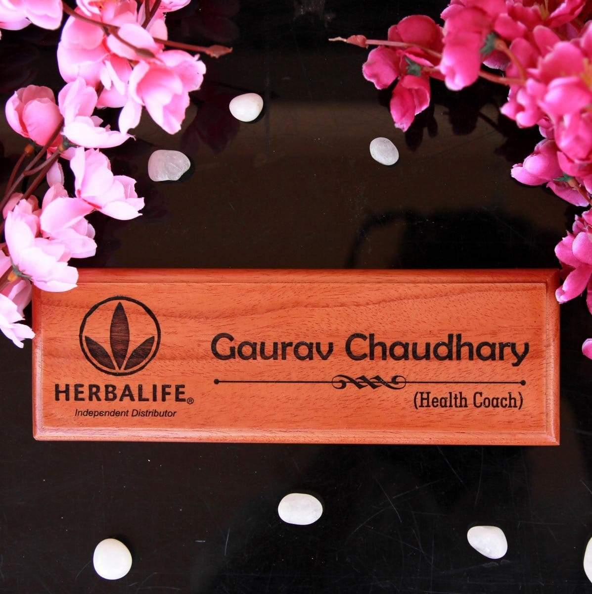 Wooden Name Plate Engraved With Logo & Name. Personalised Office Name Plate As Gift For Brother. This Custom Name Plate Is The Best Rakhi Gift For Brother Or Birthday Gift For Brother.