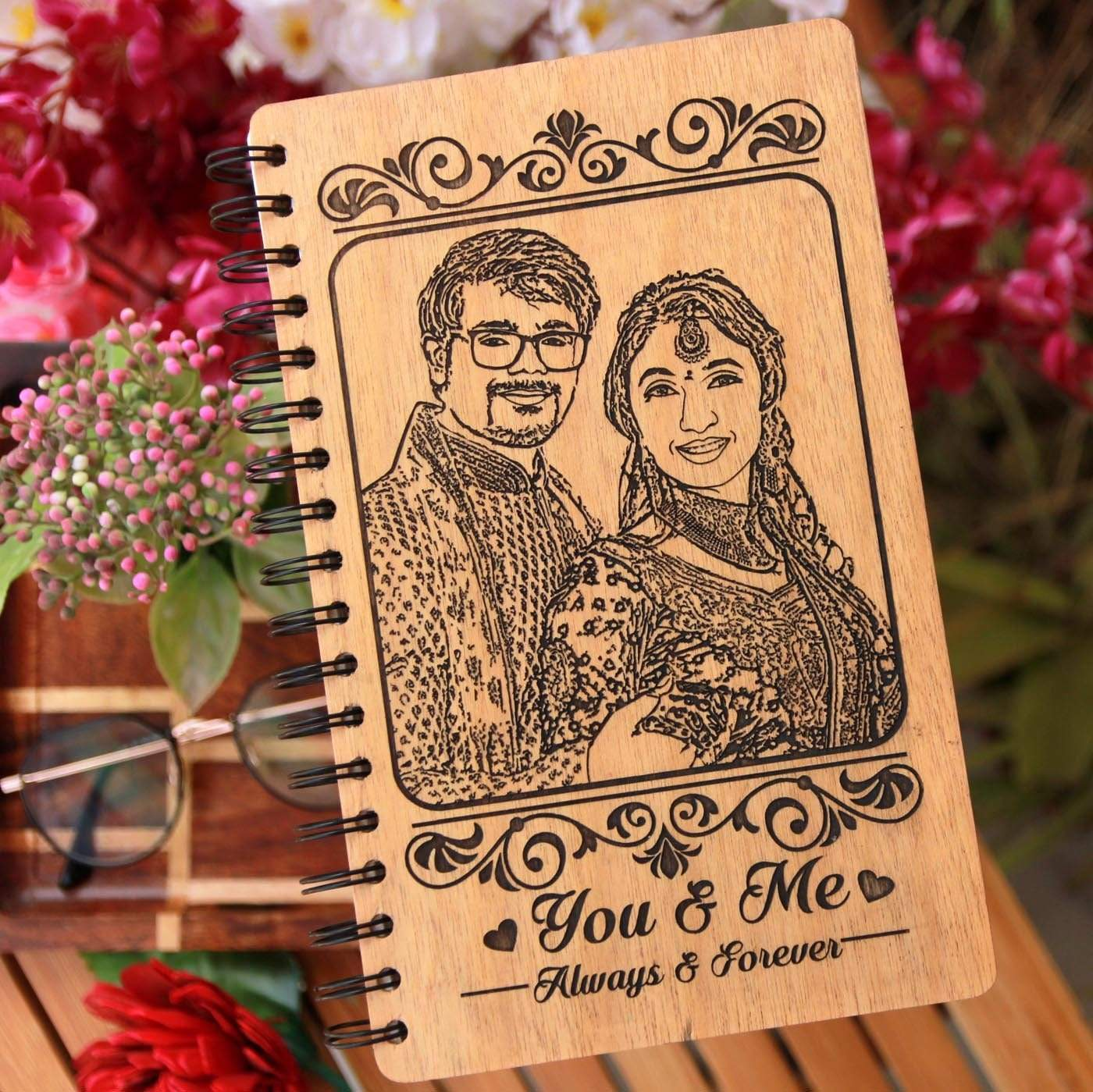 You And Me Always And Forever Wooden Notebook. This Photo Notebook is one of the most romantic gifts for husband. Looking for Gifts for him or gifts for her? This Wooden Notebook Journal Makes One Of The Best Personalized Gifts