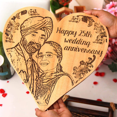Wood Engraved Photo And Anniversary Wishes On Wooden Plaque. 25th Wedding Anniversary Gifts. 25th anniversary gifts for couples. 25th anniversary gifts for parents. 25th wedding anniversary gift ideas for indian couples.