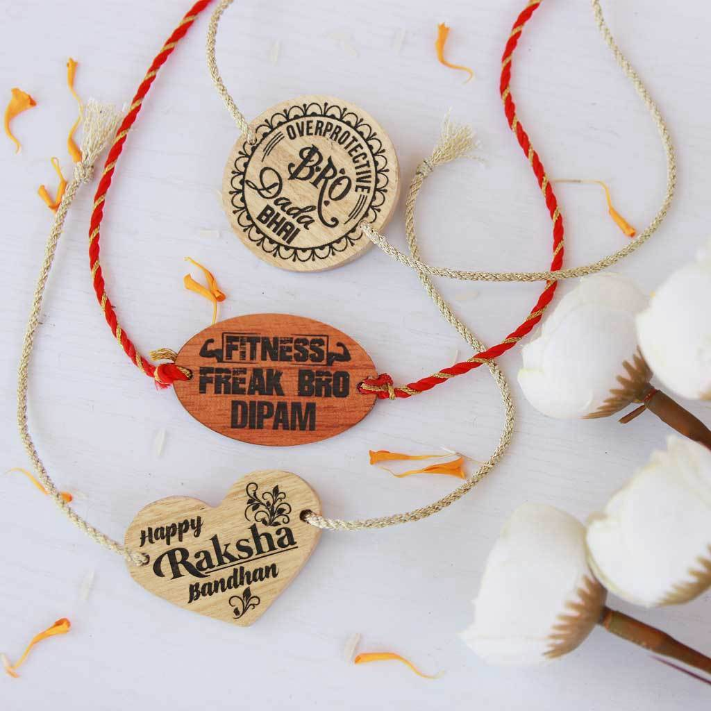 Set of 3 Wooden Rakhis & Wooden Greeting Cards. Personalised Rakhis and Raksha Bandhan Greetings Engraved on Rakhi Card. Buy Rakhi Online & Send Rakhi Online With Woodgeek Store