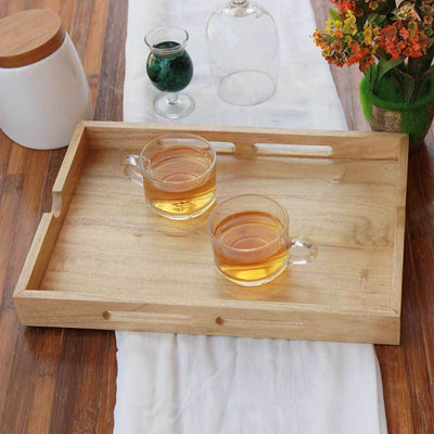 Wooden Serving Tray - A Rectangular Tray With Handles - Wooden Home Decor - Wooden Serving Tray - Coffee Serving Tray - Wooden Tea Tray - Wooden Food Trays - Small Wooden Tray - Decorative Wooden Serving Trays - Bed Serving Tray - Rectangular Serving Tray - Kitchen Decor - Wooden Kitchen Accessories - Woodgeek Store