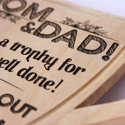 Mom & Dad! Here's a trophy for a job well done. I turned out great! - This funny award for family is one of the best gifts for parents. Wooden Trophies & Awards make great gifts for mom and dad.