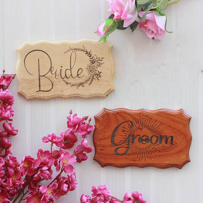Bride & Groom Wooden Wedding Sign - Rustic Wood Signs & Plaques by Woodgeek Store