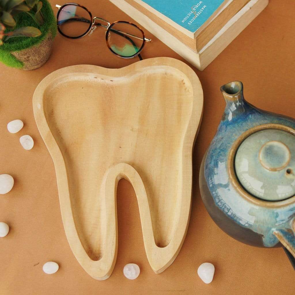 Wooden Tray In The Shape Of A Tooth. A Decorative Tray For Your Home. This Wooden tray makes A Quirky Home decor gift. This is the best gift for dentists.