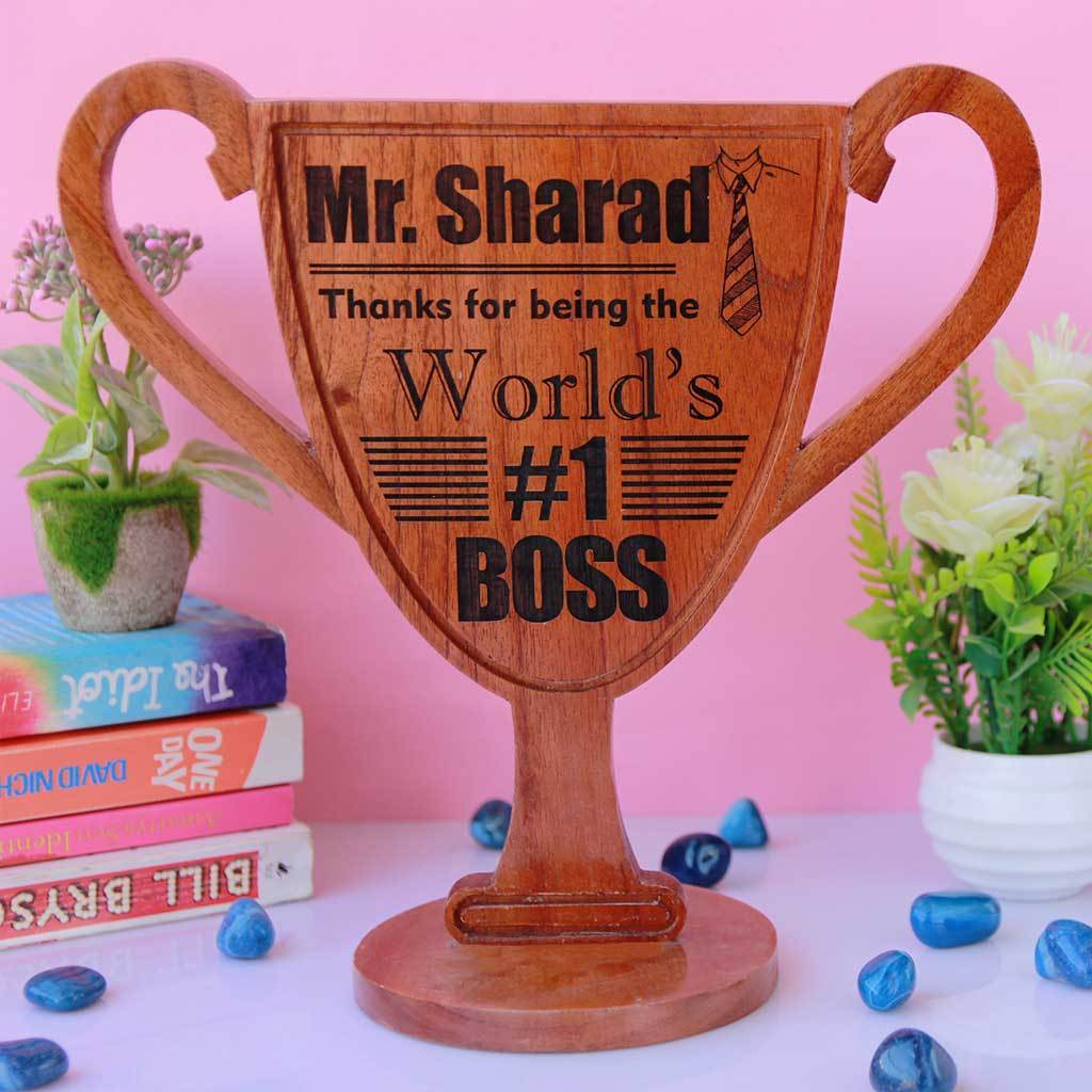 World's Best Boss Wooden Trophy Cup. A custom best boss trophy makes a great thank you gift for boss. Best Boss Gifts Ever!