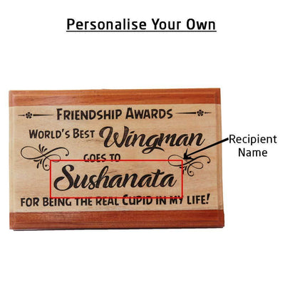 World's Best Wingman Friendship Award Wooden Plaque. This Personalized Trophy and Award Plaque Makes Cool Gift Ideas for Friendship Day.