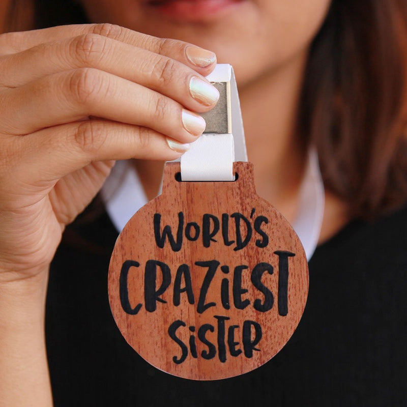 World's Craziest Sister Wooden Medal - Funny Medal With Ribbon Engraved On Mahogany Wood - Awards & Medals for Family - This is the best gift for sisters
