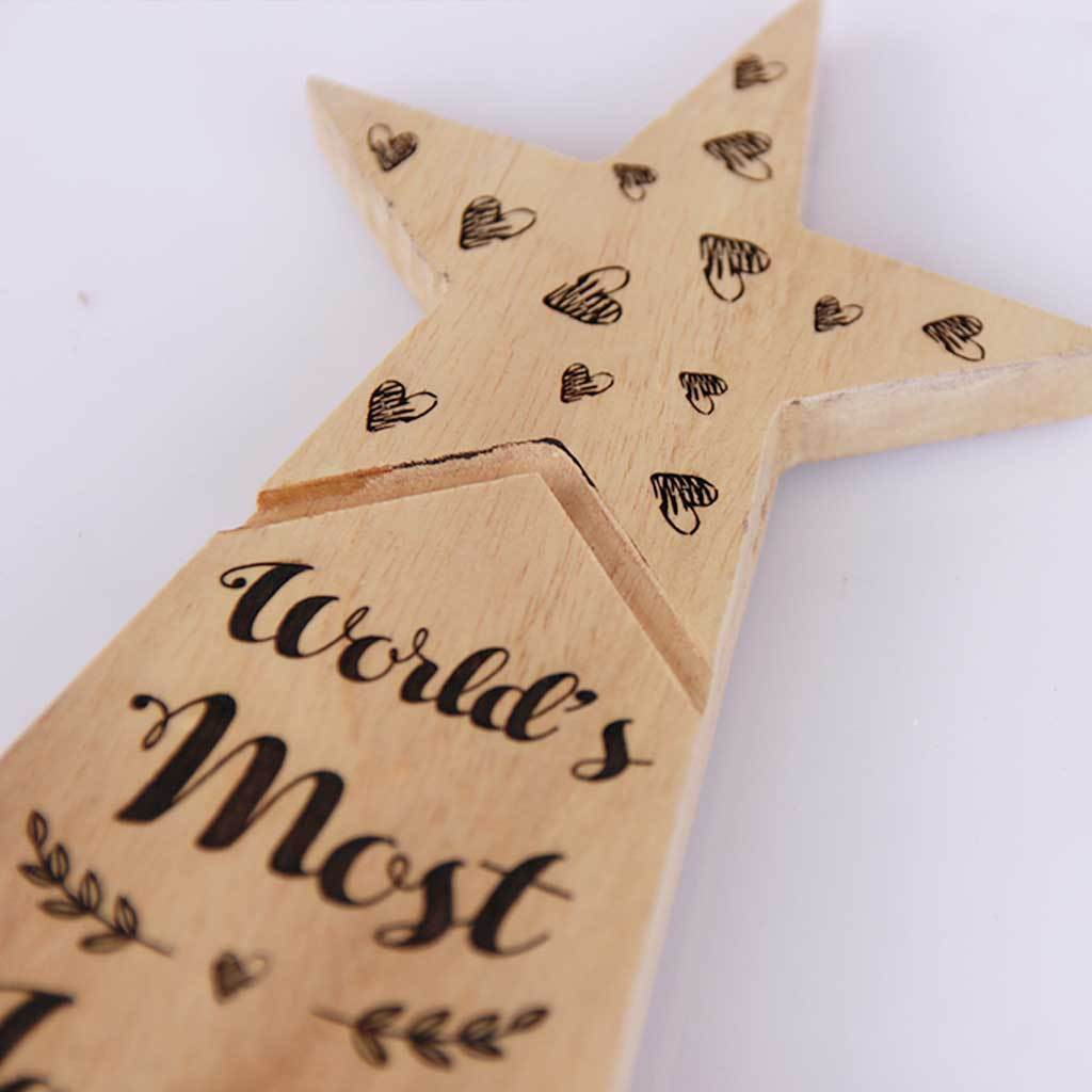 World's Most Loving Boyfriend Star Trophy. This Wooden Award makes a unique gift for boyfriend. These custom trophies are one of the best romantic gifts for him, anniversary gift or birthday gift for boyfriend.