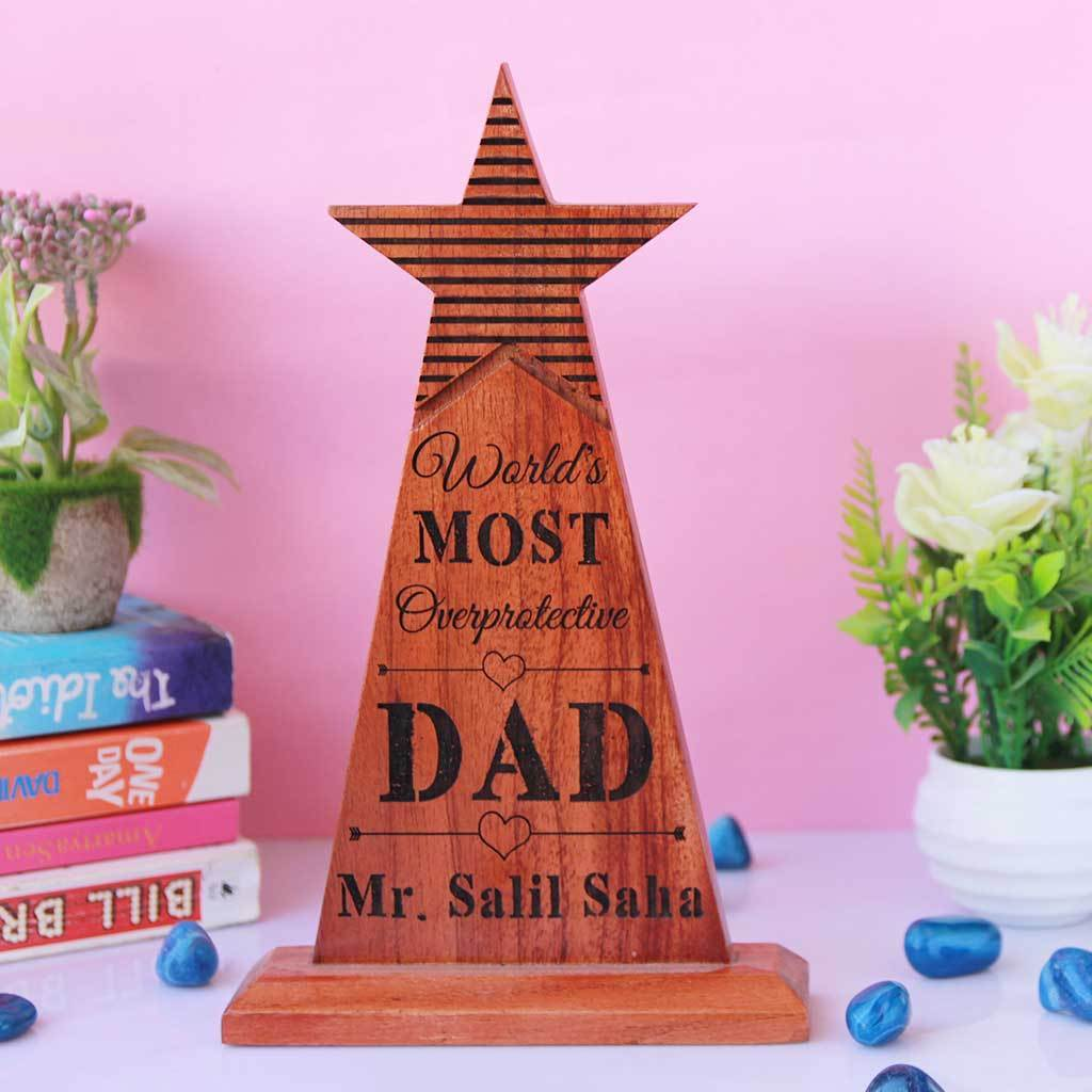 World's Most Overprotective Dad Star Trophy - A Funny Award for Dad. This is one of the best gifts for dad, Father's Day gift or birthday gift for him.