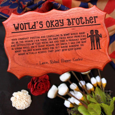 Custom Made Wood Sign For The World's Okay Brother - This Wood Certificate Plaque Makes One Of The Best Gift Ideas For Brother - Shop More Personalized Gifts For Him Online From The Woodgeek Store.