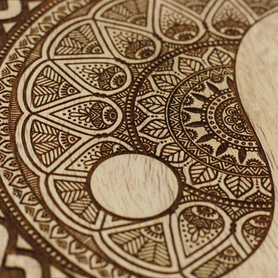 Wood Engraving -  Buy Wood Wall Art Online - Wood Carved Wall Art - Yin & Yang Art on Wood - Woodgeek Store