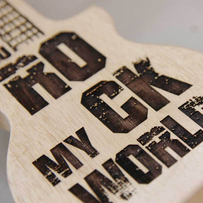 You Rock My World Wooden Guitar Shaped Award & Trophy.  These Custom Trophies make really Unusual Gift Ideas . These Personalised Music Awards are the Best Gifts For Music Lovers and for loved ones.