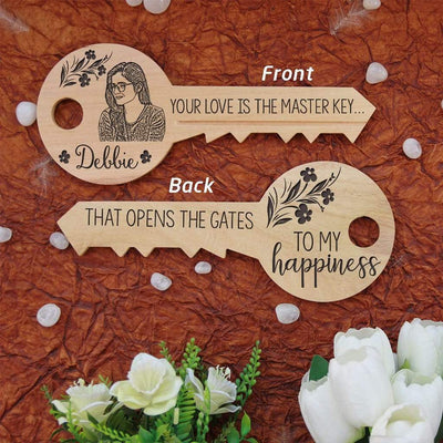 Your love is the master key that opens the gates to my happiness. A key-shaped wooden sign with front and back engraving. These wooden signs make unique gifts for boyfriend, romantic gifts for girlfriend, best gift for wife, birthday gifts for husband, anniversary gifts or Valentine's Day gifts. These personalised wooden plaques can be customized with wood engraved photo and name.