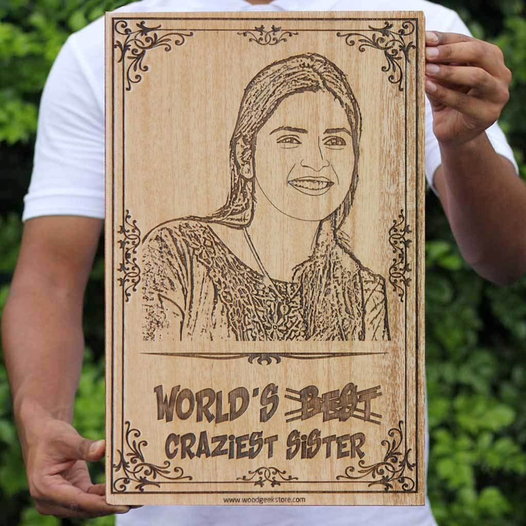 Best Gifts for Sister - World's Most Amazing Sister - Personalized Gifts - Engraved Wooden Photo Frames - Large Customized Wood Wall Art - Woodgeek Store