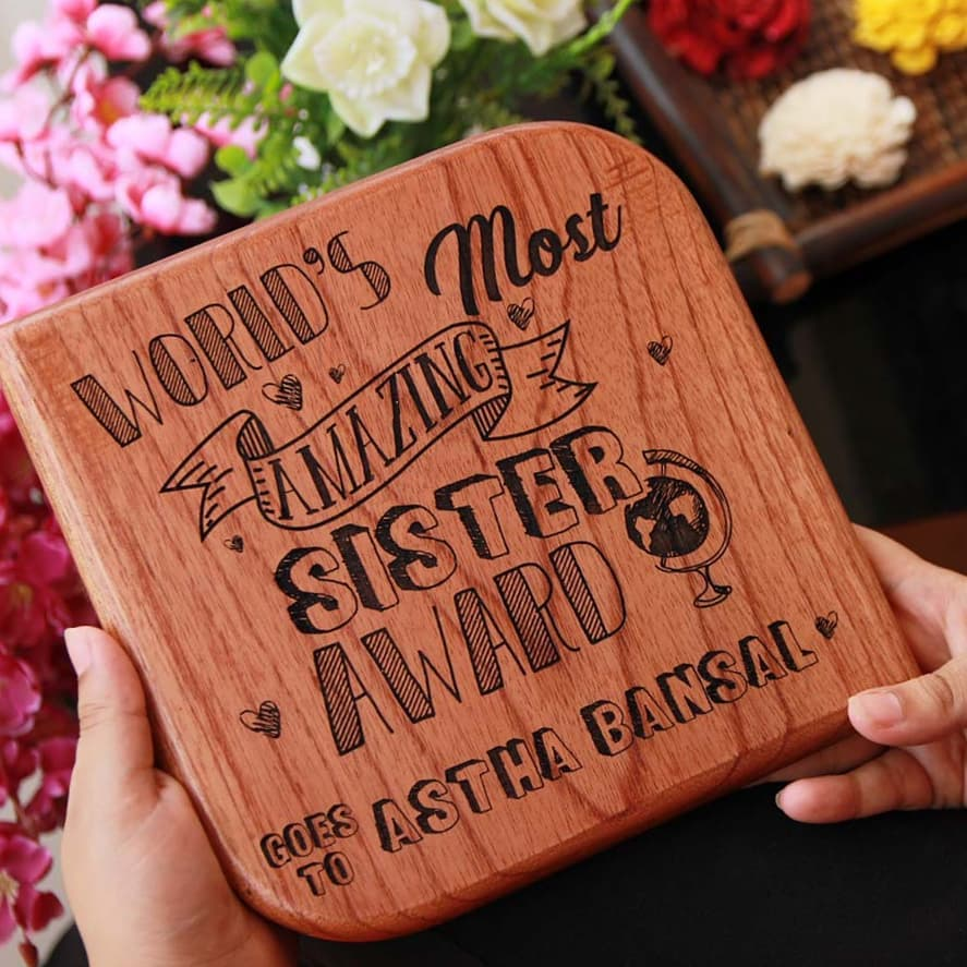 World's Most Amazing Sister Wooden Award Plaque