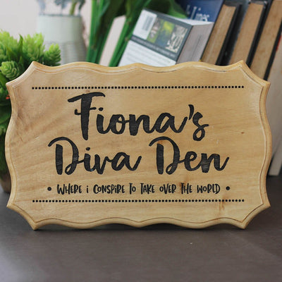 Personalized Custom Wood Room Name Signs - Diva Den Wooden Room Sign for Girl's Room - Wooden Name Signs for Home by Woodgeek Store