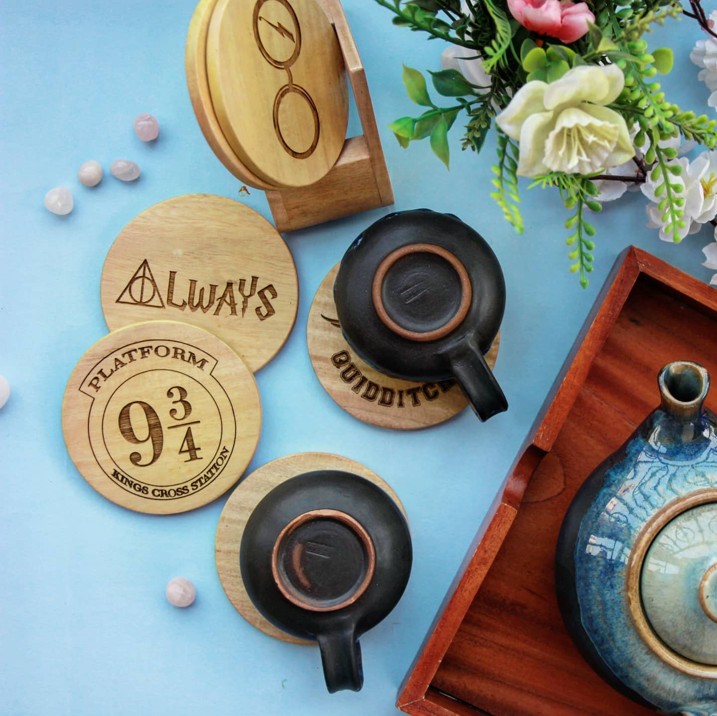 Harry Potter Coasters - Wooden Coaster Set With Holder