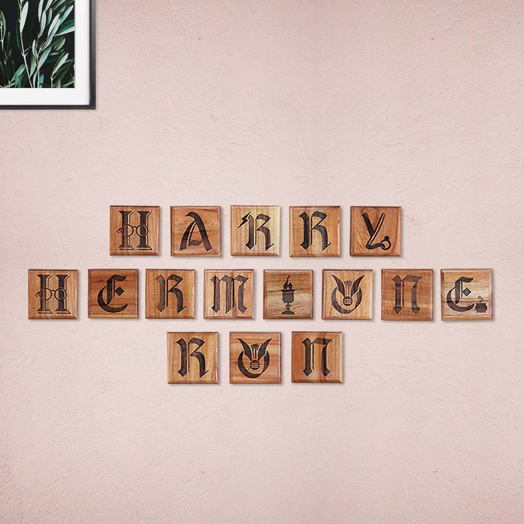Harry Potter Wooden Crossword Blocks - Golden Trio Crossword & Scrabble Wall Art - Gifts for Harry Potter fans by Woodgeek Store