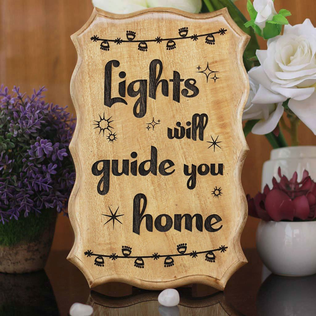 Lights Will Guide You Home Wood Sign - Popular Christmas Gifts - Best Secret Santa Gifts - Wooden Signs For Home - Best Christmas Gifts By Woodgeekstore