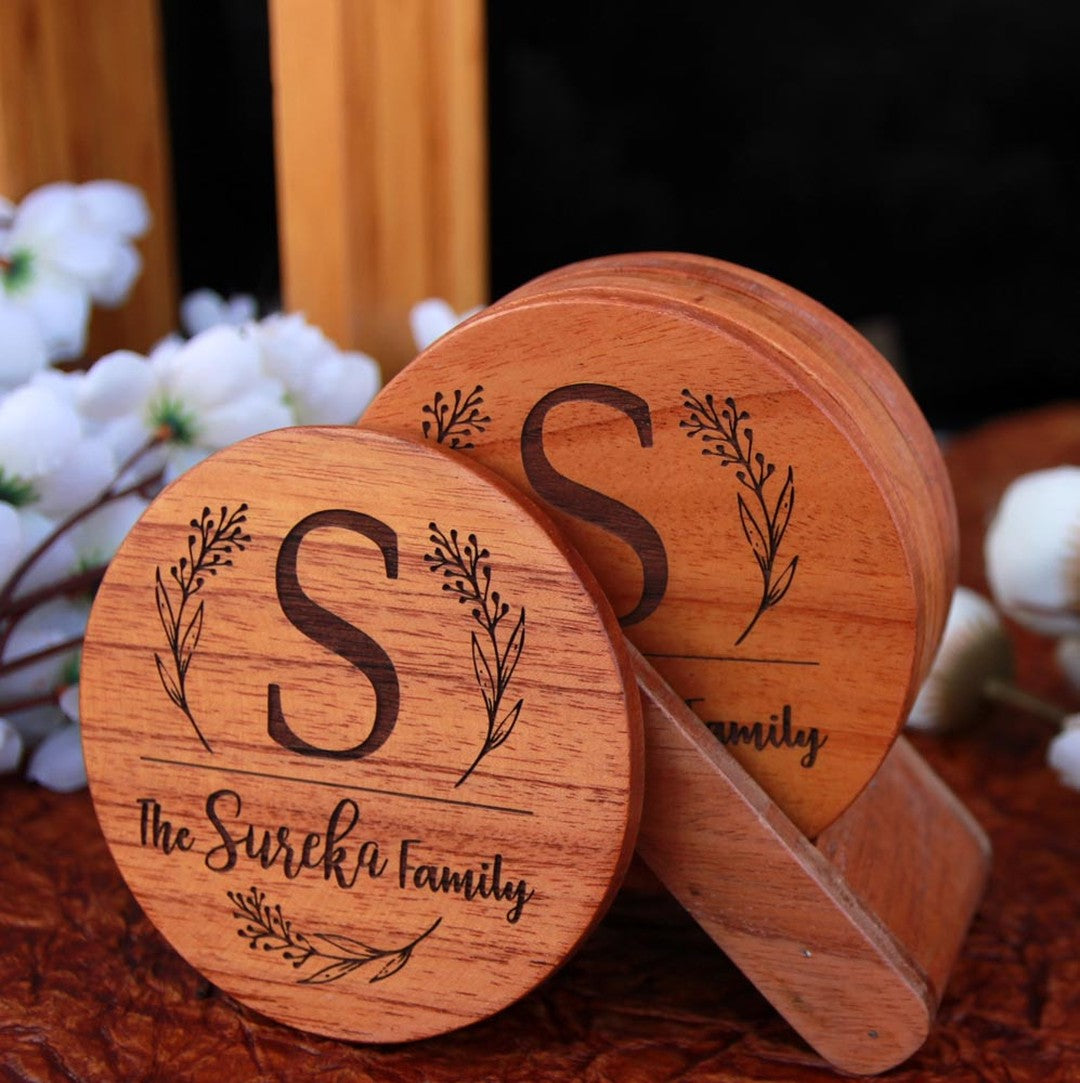 Family Name Coasters: Monogram Coasters - Wooden Coaster Set With Holder