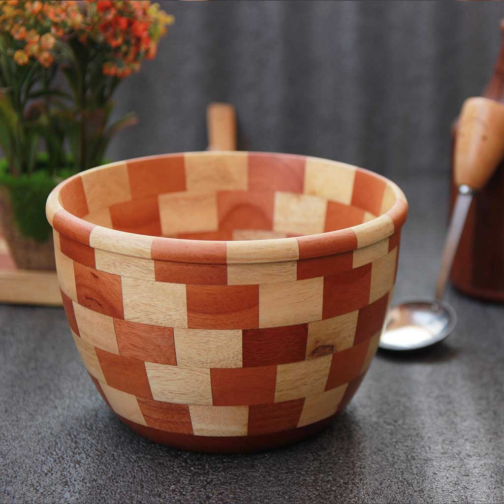 Segmented wood bowl made from 65 wood pieces by woodgeek store