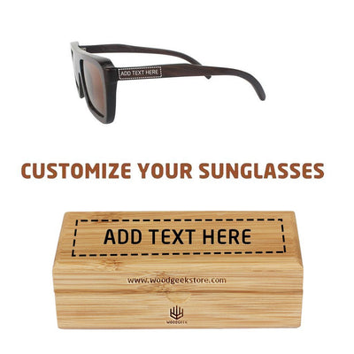 Personalized wooden sunglasses - Custom Wooden Sunglasses engrave with a name and free personalized bamboo sunglasses case