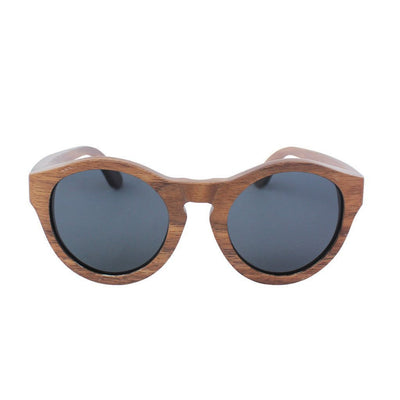 SUNGLASSES - The Hipster - Walnut Wood Round Sunglasses