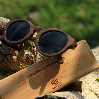 the hipster round wooden sunglasses in the sun by Woodgeek