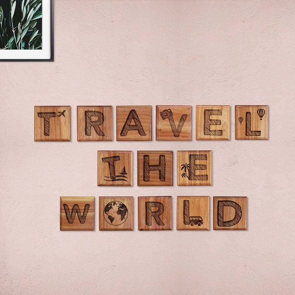 Best Travel Gifts - Travel The World Crossword Art - Wooden Letter Tiles by Woodgeek Store