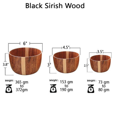 set of 3 wooden bowl sizes by woodgeekstore